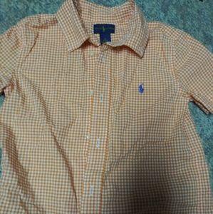 Boys Ralph Lauren orange short sleeve button down